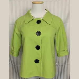 Tahari ASL Lime Button Front Blazer